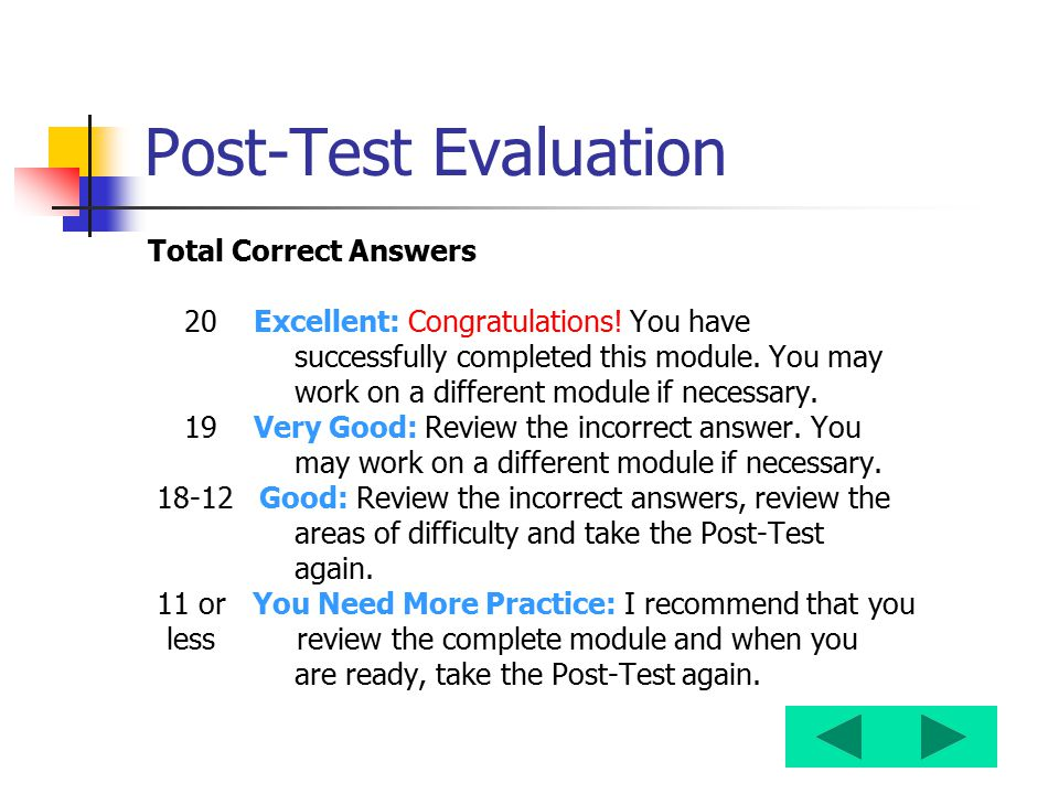 Post-Test Evaluation Total Correct Answers 20 Excellent: Congratulations! You have successfully completed this module. You may work on a different mod