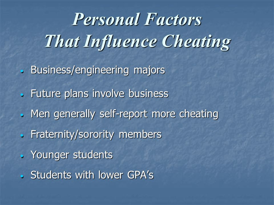 Personal Factors That Influence Cheating  Business/engineering majors  Future plans involve business  Men generally self-report more cheating  Fraternity/sorority members  Younger students  Students with lower GPA's