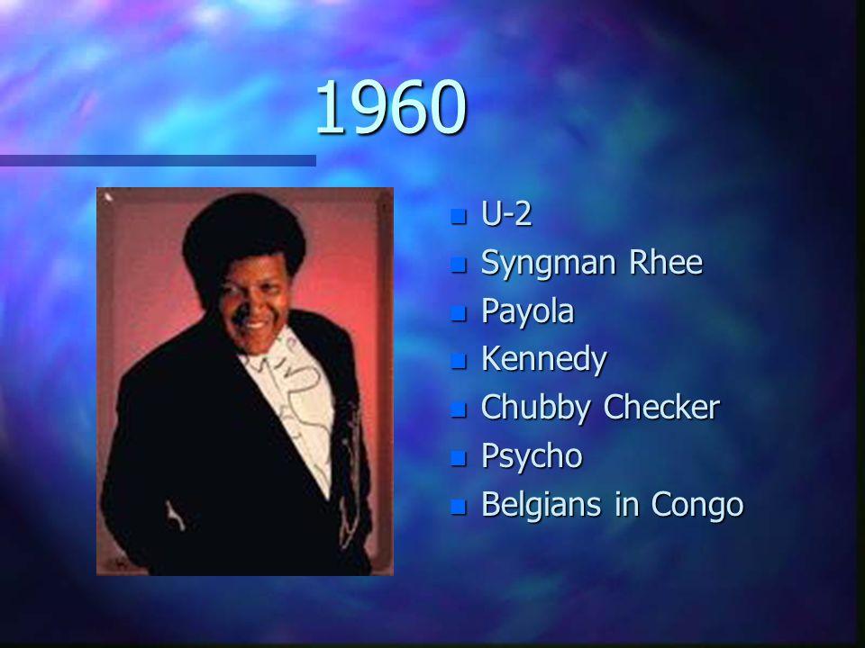 1960 n U-2 n Syngman Rhee n Payola n Kennedy n Chubby Checker n Psycho n Belgians in Congo