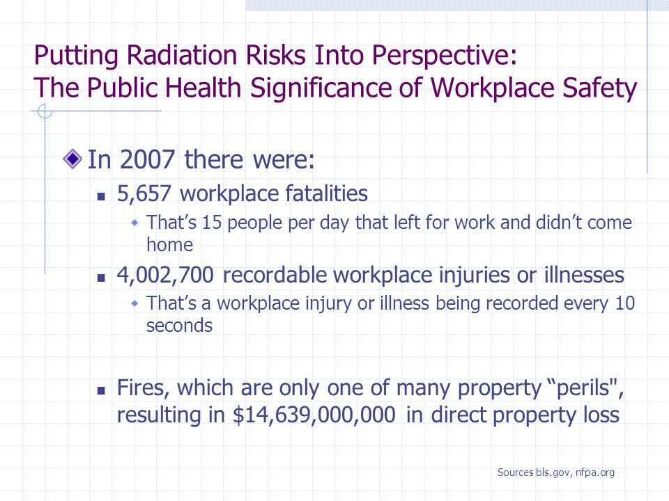 Putting Radiation Risks Into Perspective: The Public Health Significance of Workplace Safety In 2007 there were: 5,657 workplace fatalities  That's 15 people per day that left for work and didn't come home 4,002,700 recordable workplace injuries or illnesses  That's a workplace injury or illness being recorded every 10 seconds Fires, which are only one of many property perils , resulting in $14,639,000,000 in direct property loss Sources bls.gov, nfpa.org