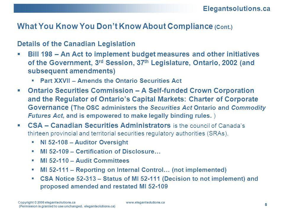 Elegantsolutions.ca Copyright © 2006 elegantsolutions.ca www.elegantsolutions.ca (Permission is granted to use unchanged. elegantsolutions.ca) 5 What