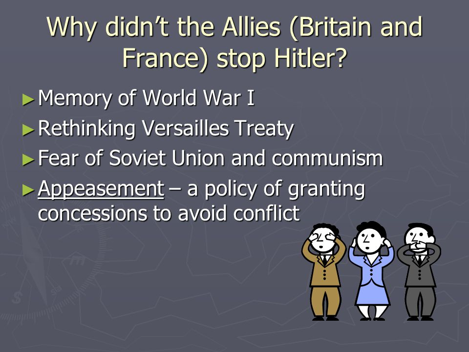 Why didn't the Allies (Britain and France) stop Hitler.