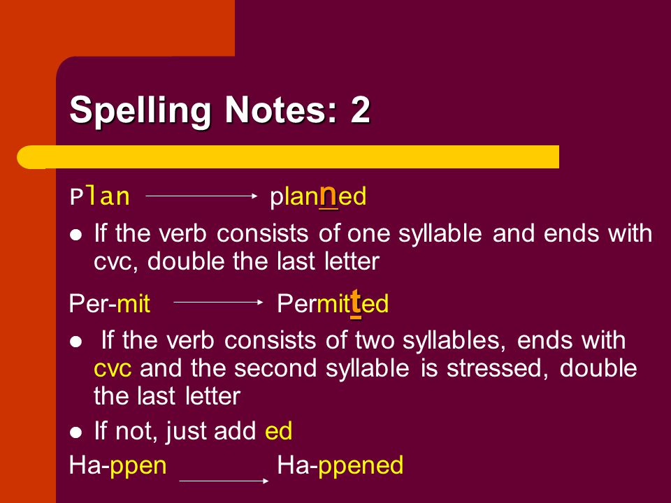 Spelling Notes: 2 n Plan plan n ed If the verb consists of one syllable and ends with cvc, double the last letter t Per-mit Permit t ed If the verb co