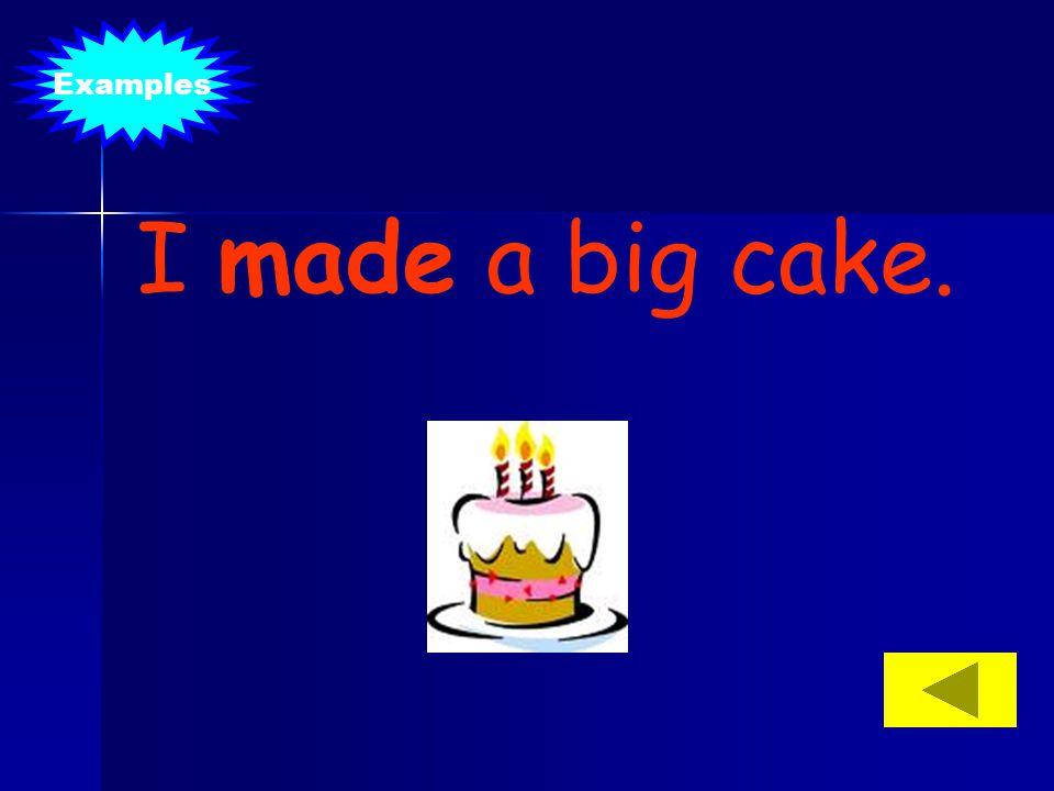 I made a big cake. Examples