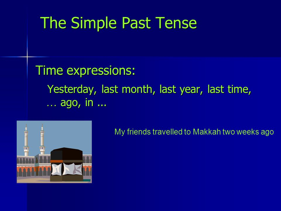 Time expressions: Yesterday, last month, last year, last time, … ago, in... Yesterday, last month, last year, last time, … ago, in... The Simple Past