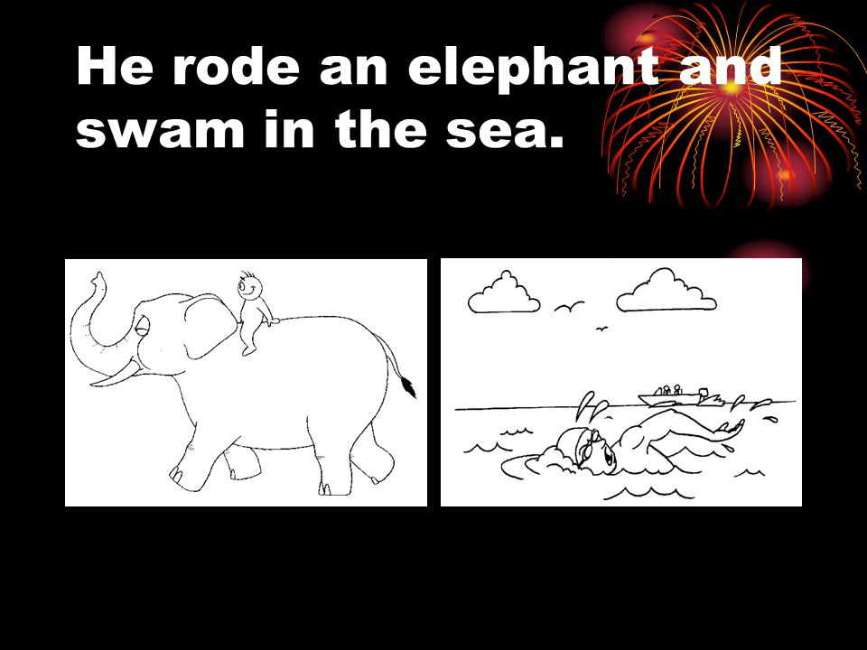 He rode an elephant and swam in the sea.