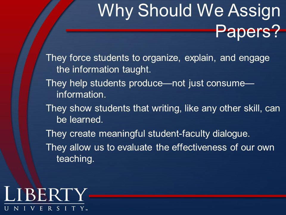 Why Should We Assign Papers.
