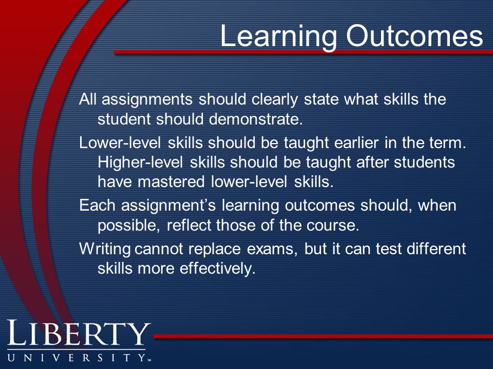 Learning Outcomes All assignments should clearly state what skills the student should demonstrate.