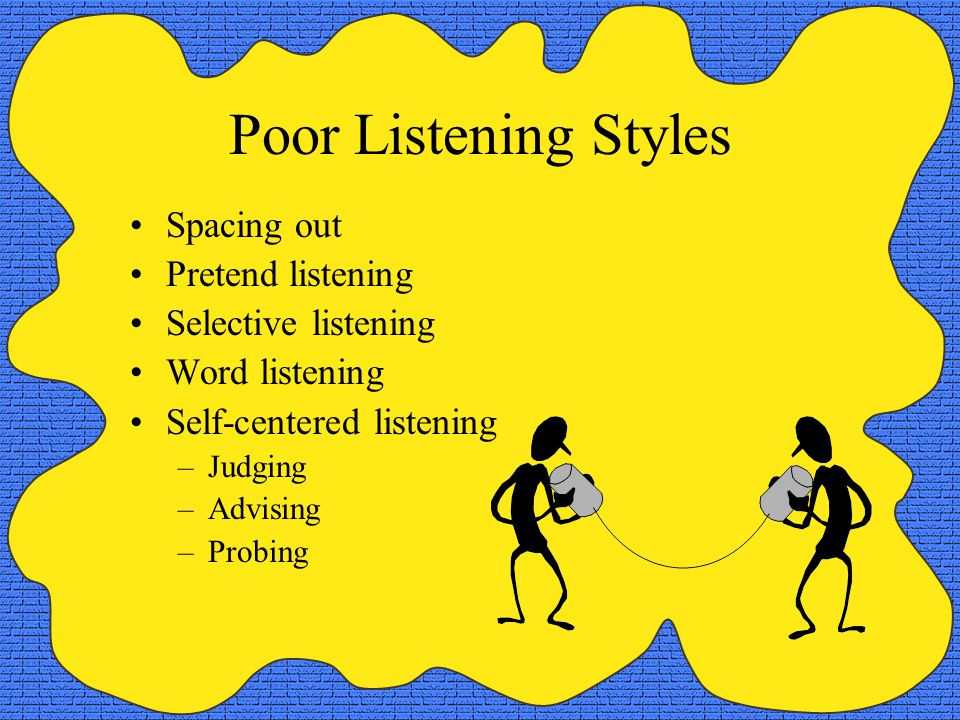 Poor Listening Styles Spacing out Pretend listening Selective listening Word listening Self-centered listening –Judging –Advising –Probing