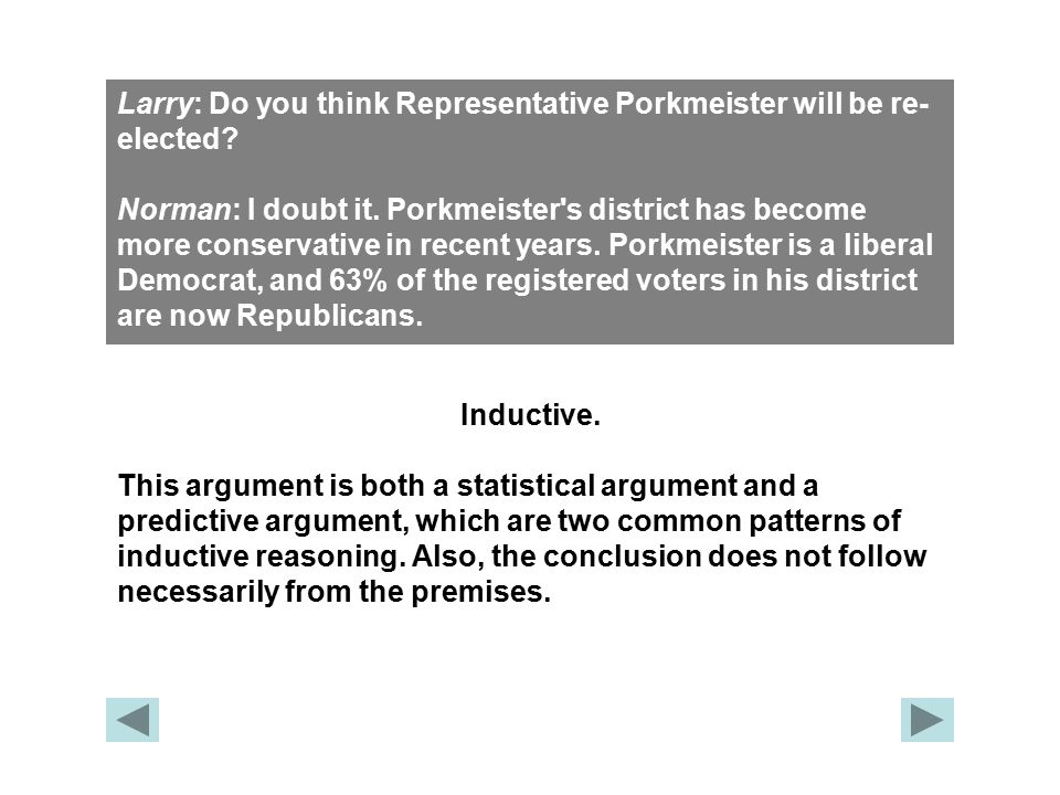 Larry: Do you think Representative Porkmeister will be re- elected? Norman: I doubt it. Porkmeister's district has become more conservative in recent