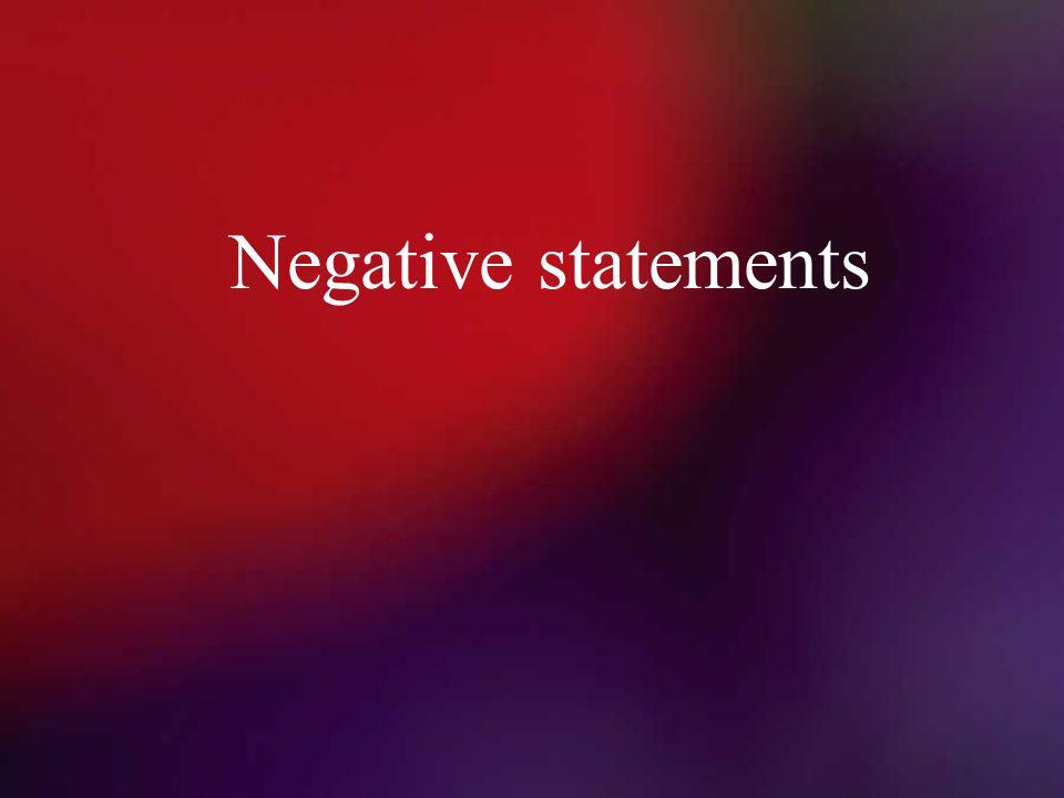 Negative statements