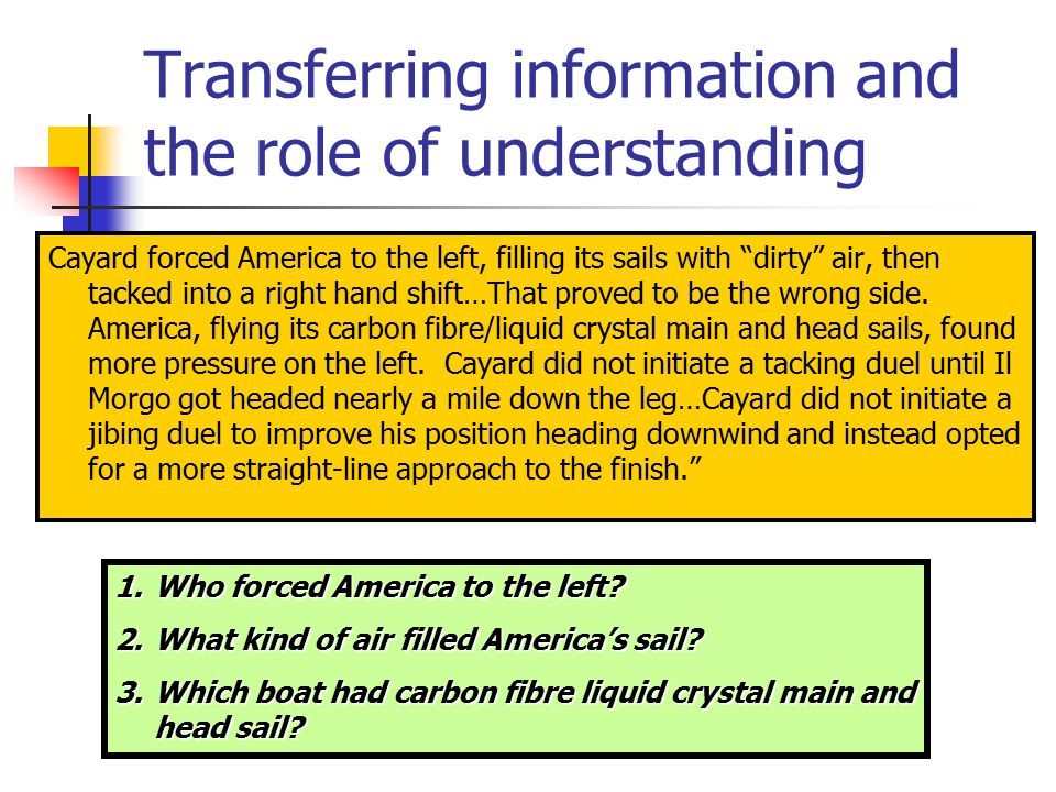 Transferring information and the role of understanding Does answering the question successfully mean you understand what the paragraph is saying.