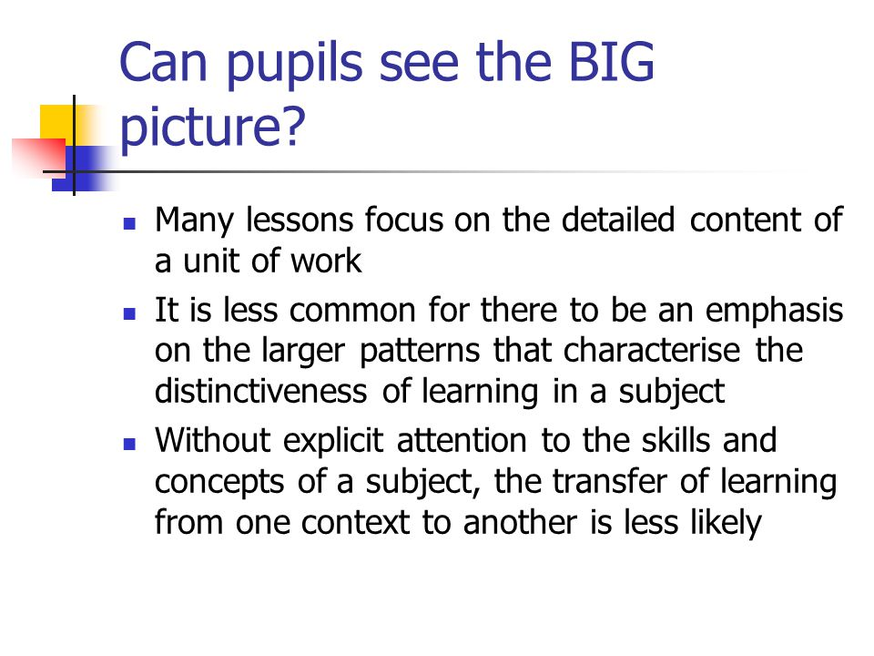 Can pupils see the BIG picture.