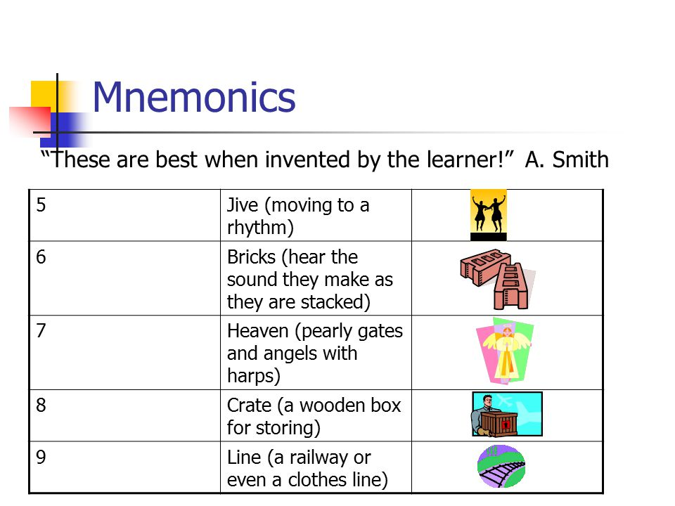 Mnemonics These are best when invented by the learner! A.