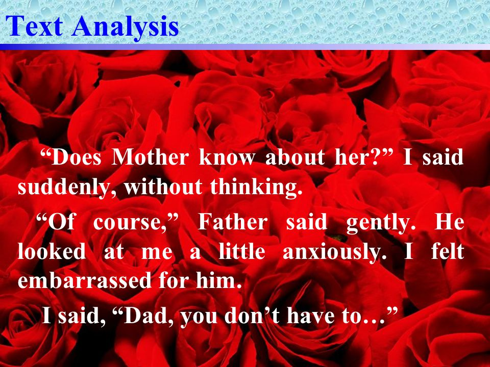 Text Analysis Does Mother know about her I said suddenly, without thinking.