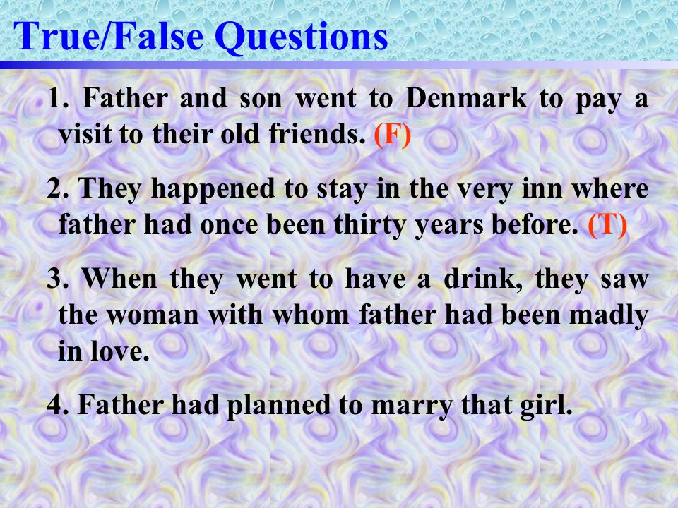 True/False Questions 1.Father and son went to Denmark to pay a visit to their old friends.