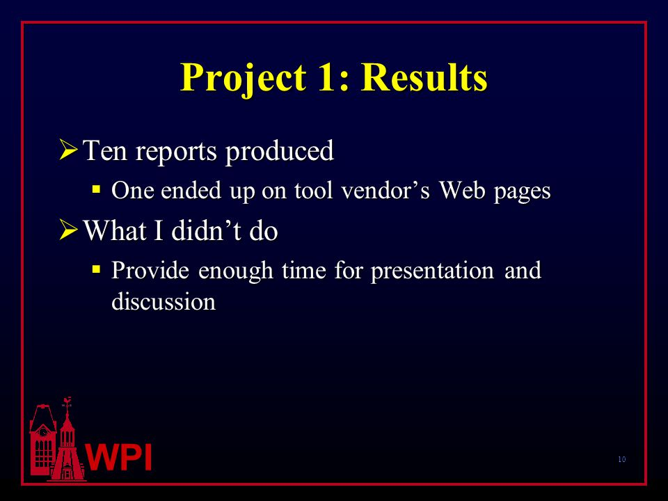 10 WPI Project 1: Results  Ten reports produced  One ended up on tool vendor's Web pages  What I didn't do  Provide enough time for presentation and discussion