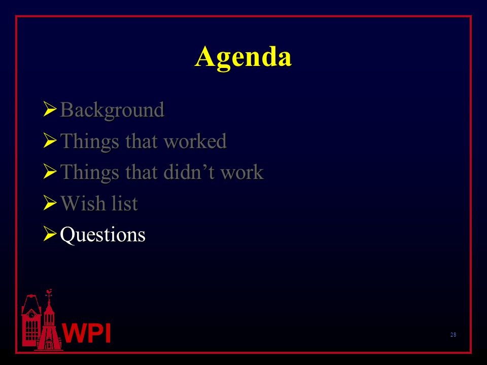 28 WPI Agenda  Background  Things that worked  Things that didn't work  Wish list  Questions