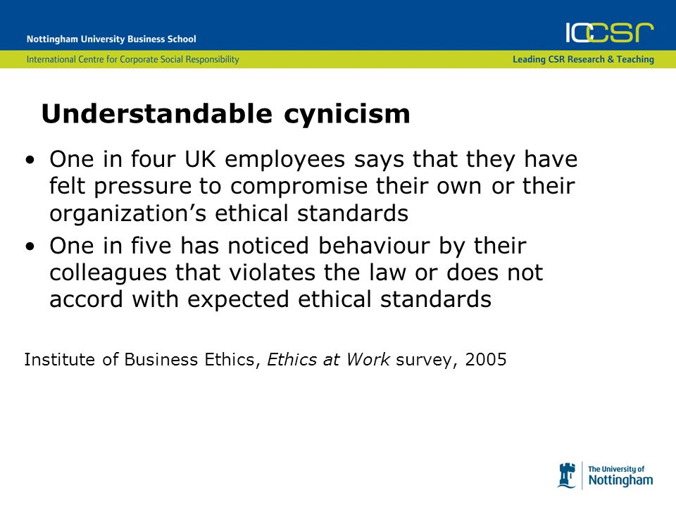 Types of misconduct Type of misconduct observedEmployees observing it Lying to employees, customers, vendors, or the public26% Withholding needed information from employees, customers, vendors or public 25% Abusive or intimidating behaviour towards employees24% Misreporting actual time or hours worked21% Discrimination on basis of race, gender, etc17% Sexual harassment13% Stealing, theft, or related fraud12% Breaking environmental and safety laws/regulations12%