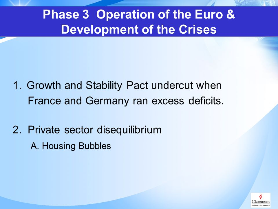 1.Growth and Stability Pact undercut when France and Germany ran excess deficits.