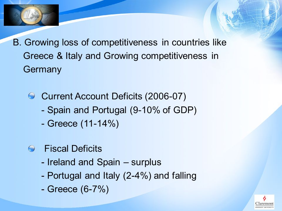 B. Growing loss of competitiveness in countries like Greece & Italy and Growing competitiveness in Germany Current Account Deficits (2006-07) - Spain