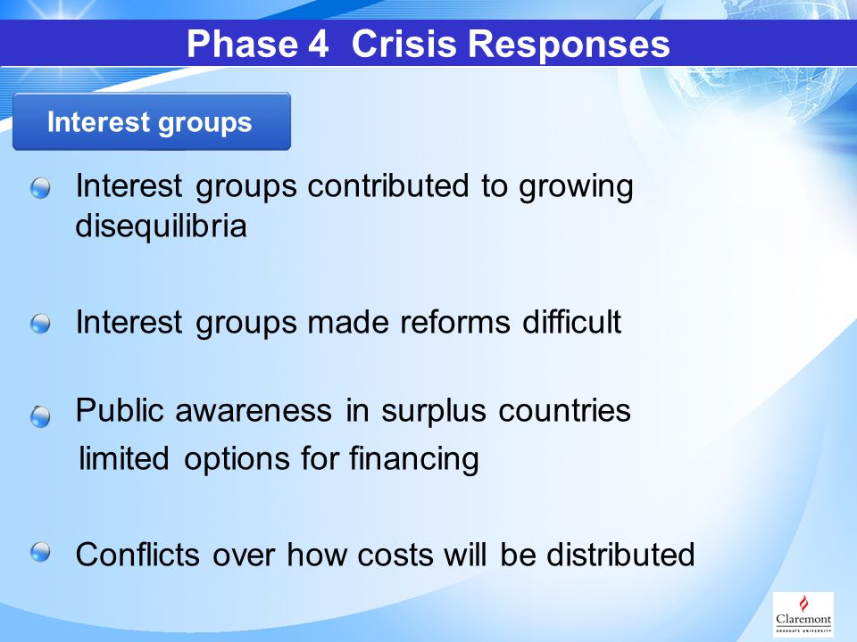 Interest groups contributed to growing disequilibria Interest groups made reforms difficult Public awareness in surplus countries limited options for financing Conflicts over how costs will be distributed Phase 4 Crisis Responses Interest groups