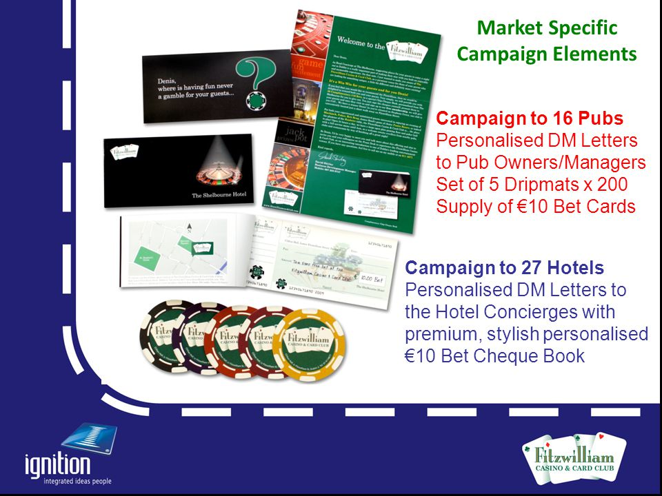 Letter Campaign to 16 Pubs Personalised DM Letters to Pub Owners/Managers Set of 5 Dripmats x 200 Supply of €10 Bet Cards Campaign to 27 Hotels Personalised DM Letters to the Hotel Concierges with premium, stylish personalised €10 Bet Cheque Book Market Specific Campaign Elements