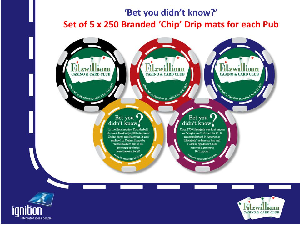 'Bet you didn't know?' Set of 5 x 250 Branded 'Chip' Drip mats for each Pub