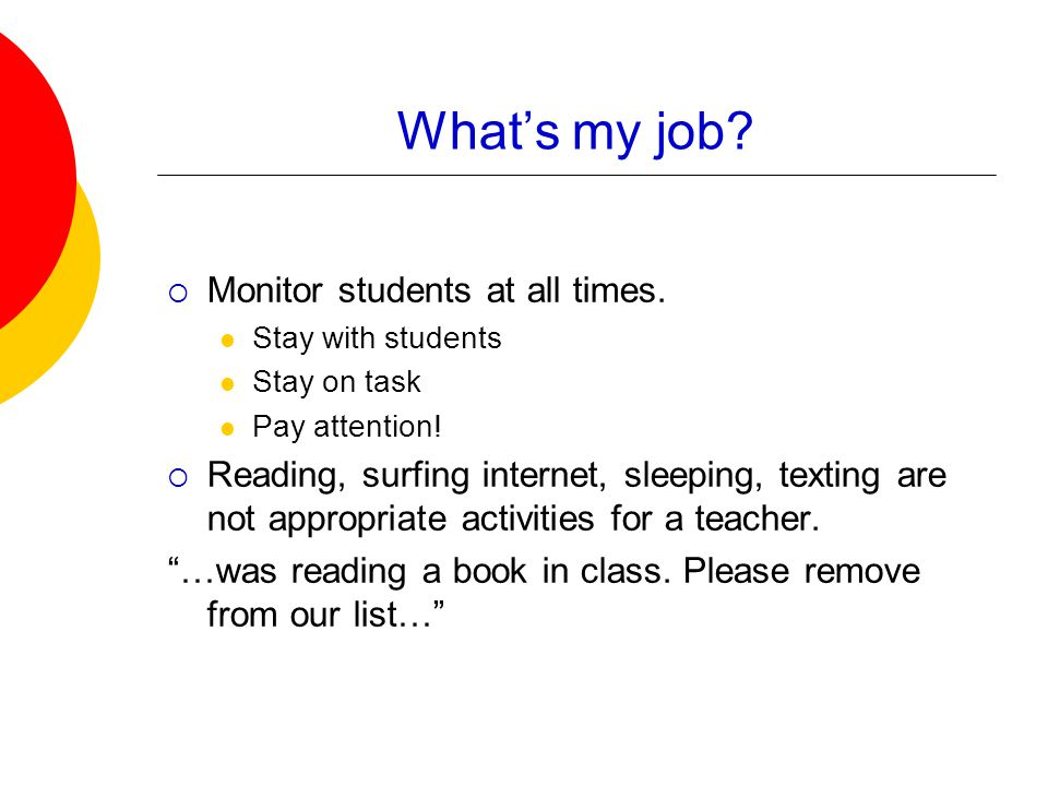 What's my job?  Monitor students at all times. Stay with students Stay on task Pay attention!  Reading, surfing internet, sleeping, texting are not