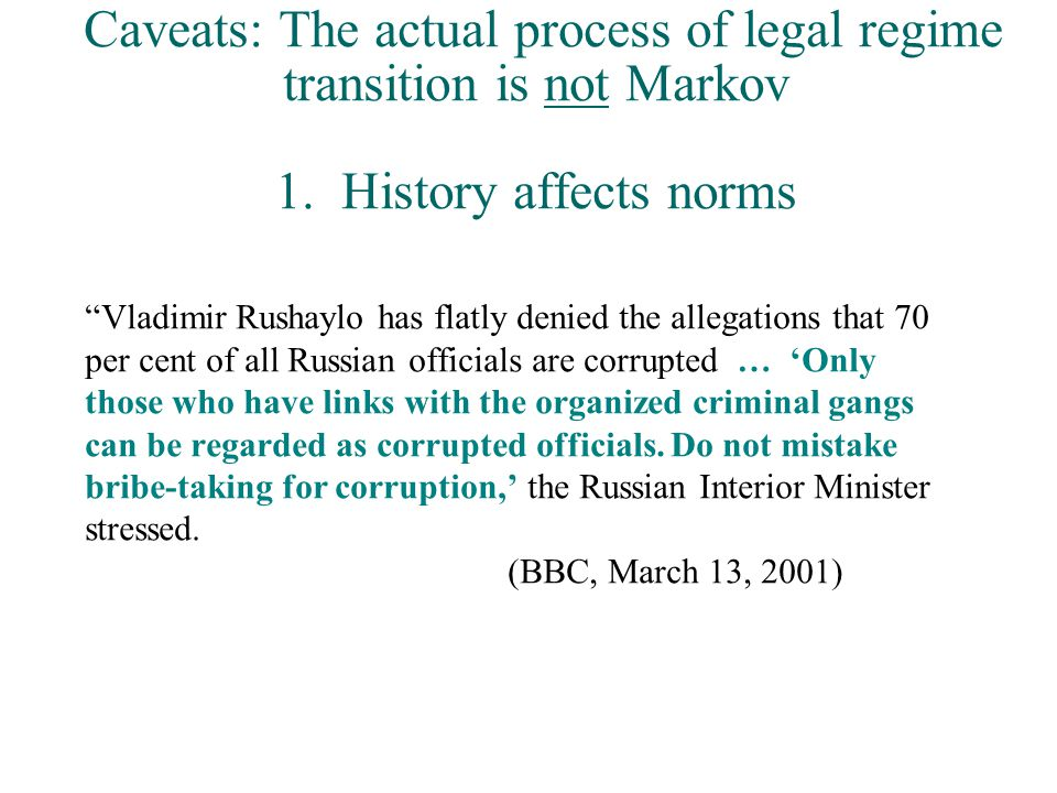 Caveats: The actual process of legal regime transition is not Markov 1.