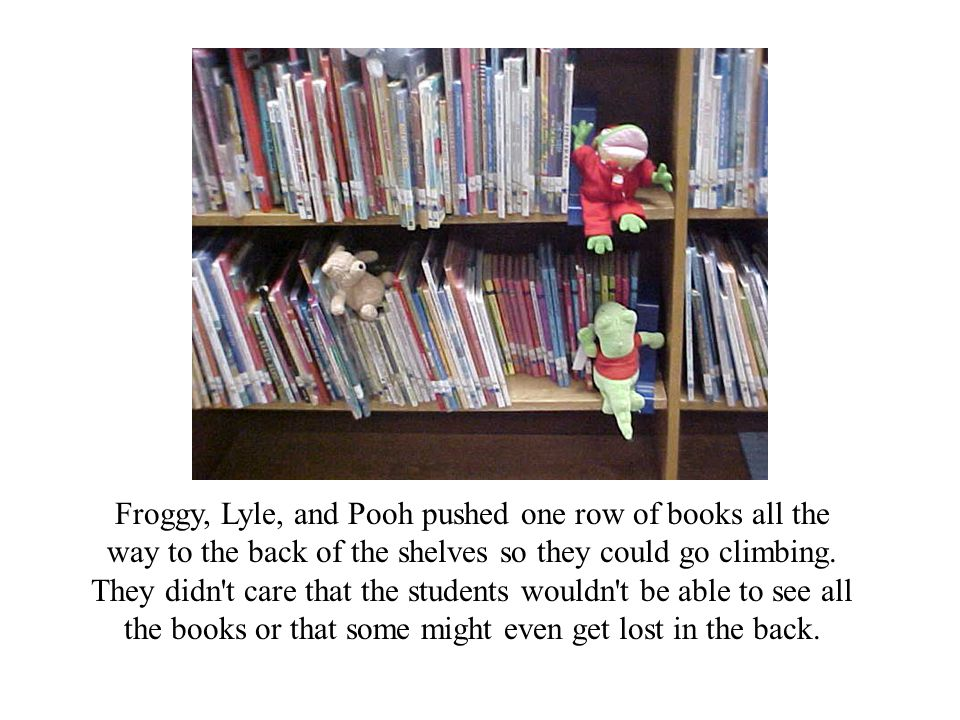 Froggy, Lyle, and Pooh pushed one row of books all the way to the back of the shelves so they could go climbing.