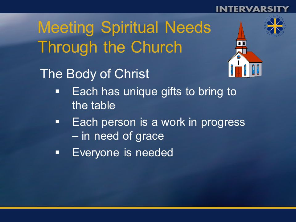 Meeting Spiritual Needs Through the Church Unity – the message of the gospel CCan't be jealous of others gifts BBy the love we have for one another, others will see Christ.