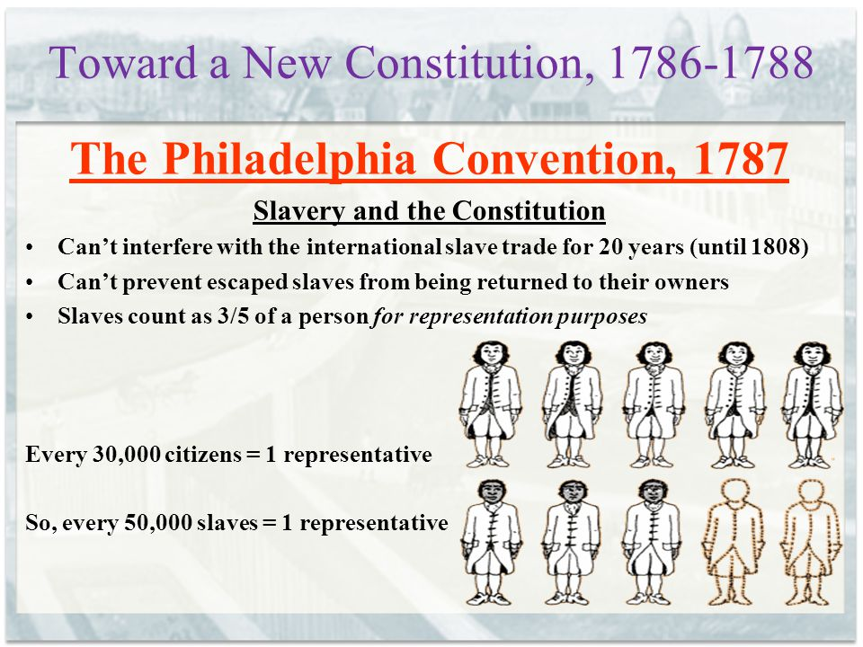 Toward a New Constitution, 1786-1788 The Philadelphia Convention, 1787 Slavery and the Constitution Can't interfere with the international slave trade