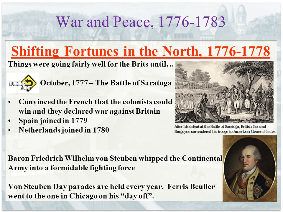 War and Peace, 1776-1783 The War in the West, 1776-1782 The colonists and the Native Americans pretty much continued their skirmishes from before the war Nothing too memorable for AP purposes except that many Indians were killed, making it that much easier for the whites to conquer them later