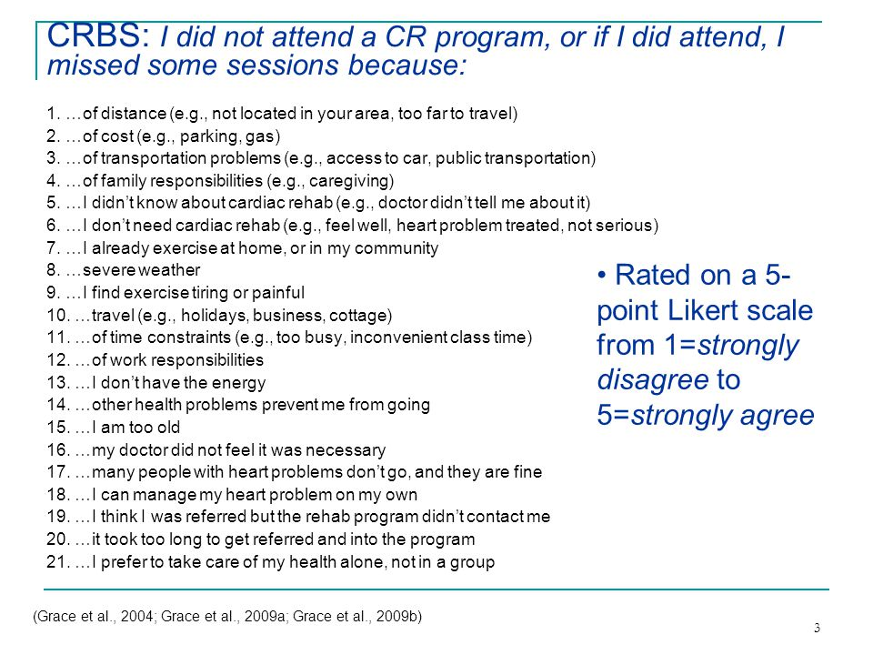 3 CRBS: I did not attend a CR program, or if I did attend, I missed some sessions because: 1.