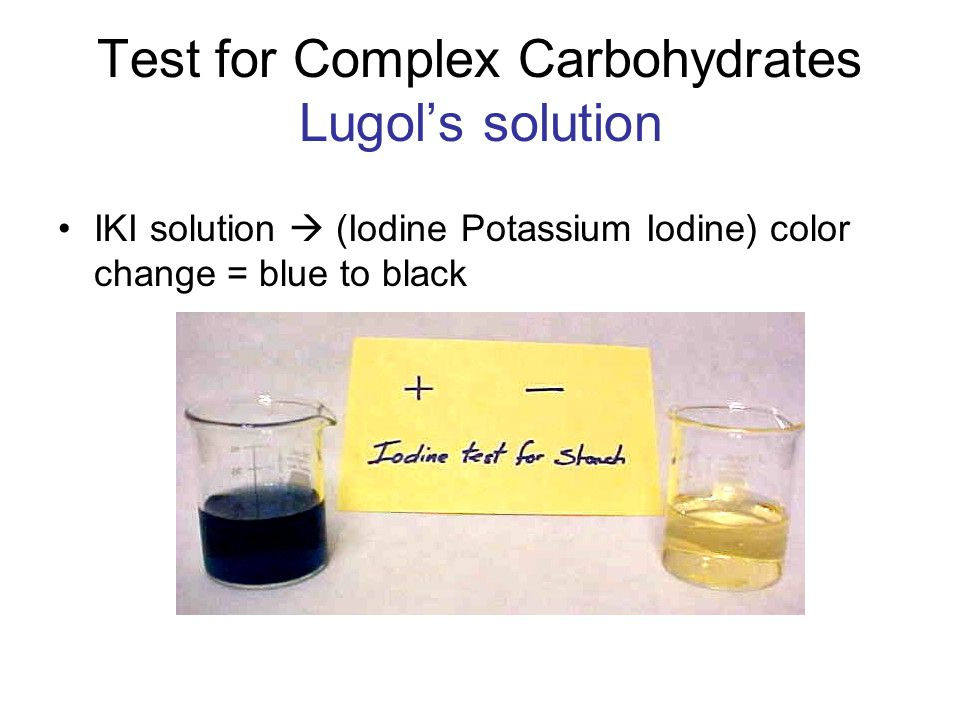 Test for Complex Carbohydrates Lugol's solution IKI solution  (Iodine Potassium Iodine) color change = blue to black