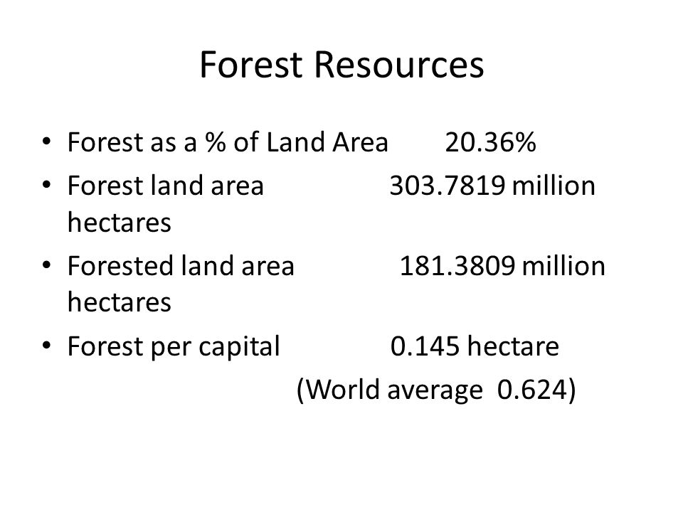 Forest Resources Forest as a % of Land Area 20.36% Forest land area 303.7819 million hectares Forested land area 181.3809 million hectares Forest per capital 0.145 hectare (World average 0.624)