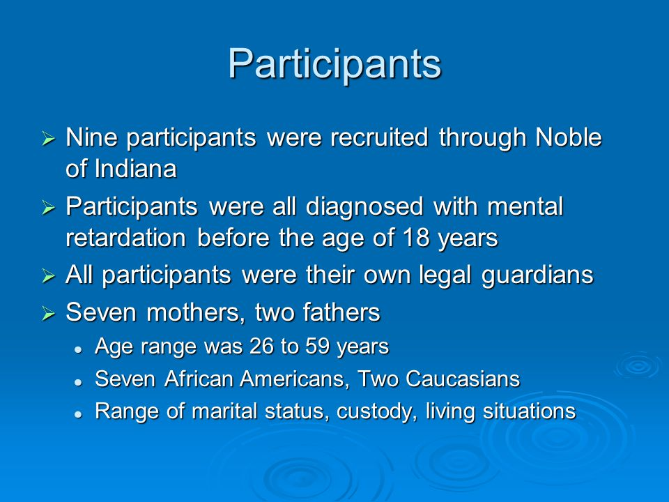 Procedure  Interviews were conducted at Noble of Indiana Informed consents Informed consents Semi-structured interviews based on questionnaire Semi-structured interviews based on questionnaire Interviews recorded Interviews recorded Debriefing Debriefing  Interviews transcribed  Client records obtained and reviewed