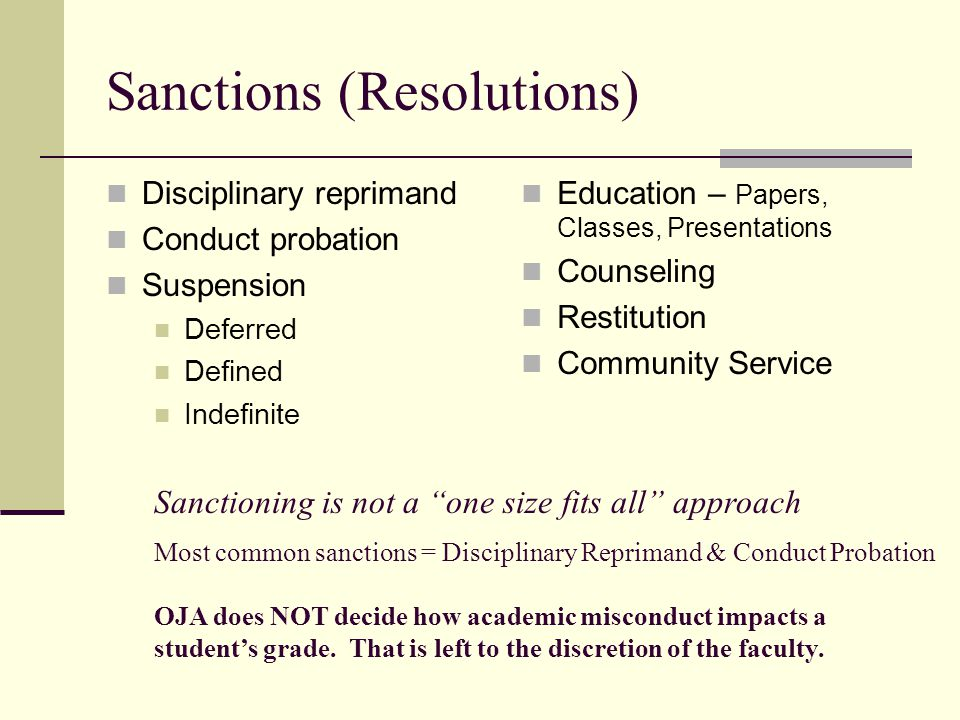 Sanctions (Resolutions) Disciplinary reprimand Conduct probation Suspension Deferred Defined Indefinite Education – Papers, Classes, Presentations Cou