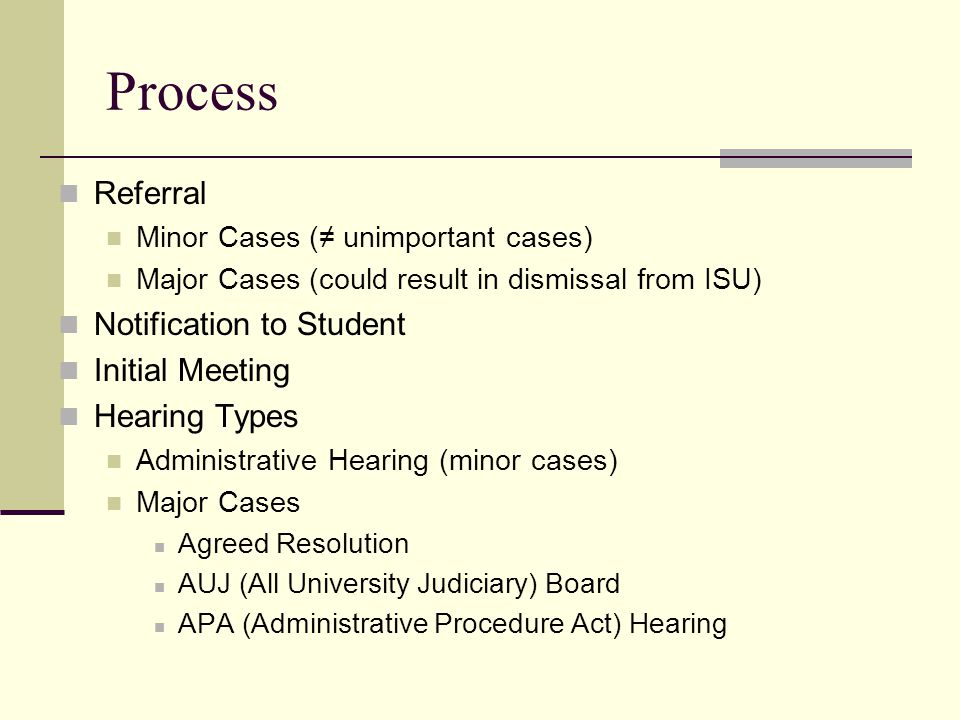 Process Referral Minor Cases (≠ unimportant cases) Major Cases (could result in dismissal from ISU) Notification to Student Initial Meeting Hearing Ty