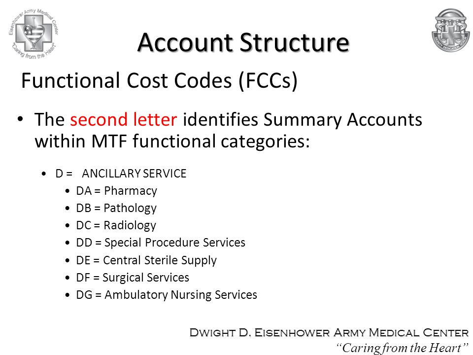 The second letter identifies Summary Accounts within MTF functional categories: D = ANCILLARY SERVICE DA = Pharmacy DB = Pathology DC = Radiology DD = Special Procedure Services DE = Central Sterile Supply DF = Surgical Services DG = Ambulatory Nursing Services Functional Cost Codes (FCCs) Account Structure Dwight D.