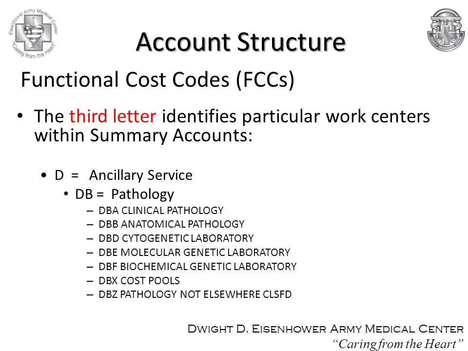The third letter identifies particular work centers within Summary Accounts: D = Ancillary Service DB = Pathology – DBA CLINICAL PATHOLOGY – DBB ANATO