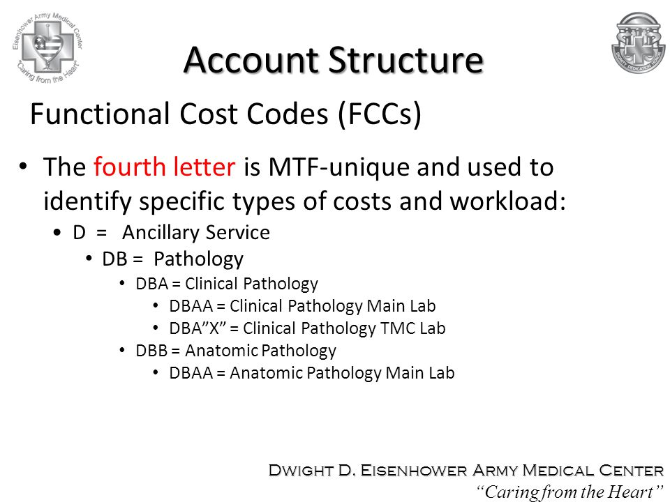 The fourth letter is MTF-unique and used to identify specific types of costs and workload: D = Ancillary Service DB = Pathology DBA = Clinical Patholo