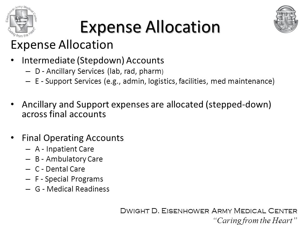 Expense Allocation Intermediate (Stepdown) Accounts – D - Ancillary Services (lab, rad, pharm ) – E - Support Services (e.g., admin, logistics, facilities, med maintenance) Ancillary and Support expenses are allocated (stepped-down) across final accounts Final Operating Accounts – A - Inpatient Care – B - Ambulatory Care – C - Dental Care – F - Special Programs – G - Medical Readiness Expense Allocation Dwight D.