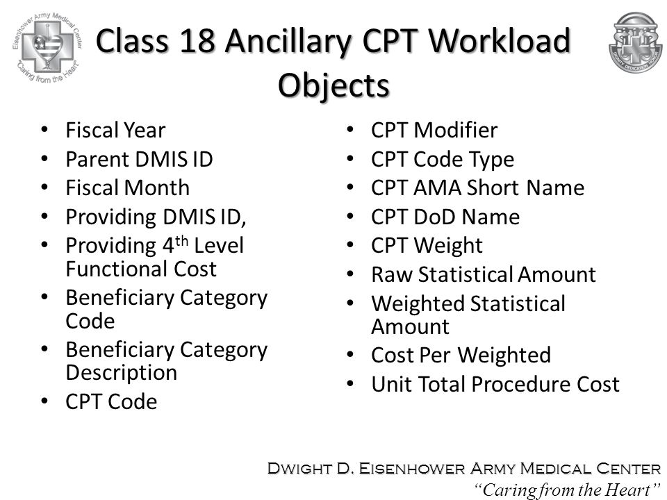 Class 18 Ancillary CPT Workload Objects Fiscal Year Parent DMIS ID Fiscal Month Providing DMIS ID, Providing 4 th Level Functional Cost Beneficiary Category Code Beneficiary Category Description CPT Code CPT Modifier CPT Code Type CPT AMA Short Name CPT DoD Name CPT Weight Raw Statistical Amount Weighted Statistical Amount Cost Per Weighted Unit Total Procedure Cost Dwight D.
