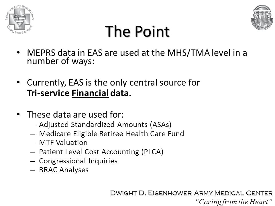The Point MEPRS data in EAS are used at the MHS/TMA level in a number of ways: Currently, EAS is the only central source for Tri-service Financial dat