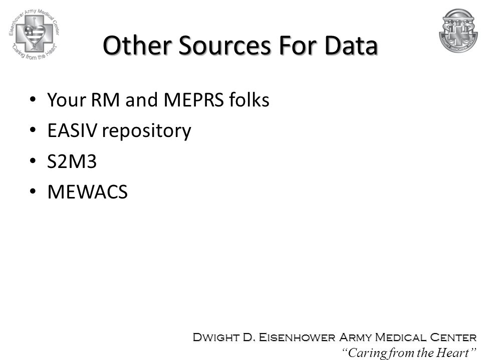 Other Sources For Data Your RM and MEPRS folks EASIV repository S2M3 MEWACS Dwight D.
