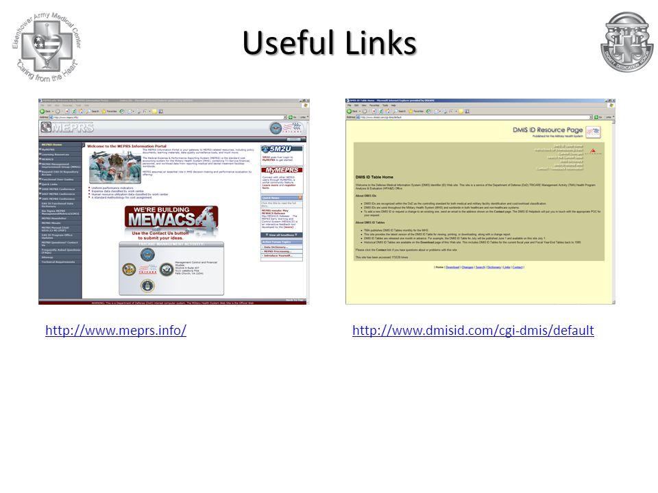 http://www.dmisid.com/cgi-dmis/defaulthttp://www.meprs.info/ Useful Links
