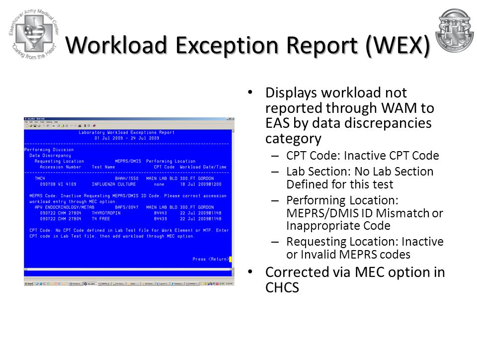 Workload Exception Report (WEX) Workload Exception Report (WEX) Displays workload not reported through WAM to EAS by data discrepancies category – CPT