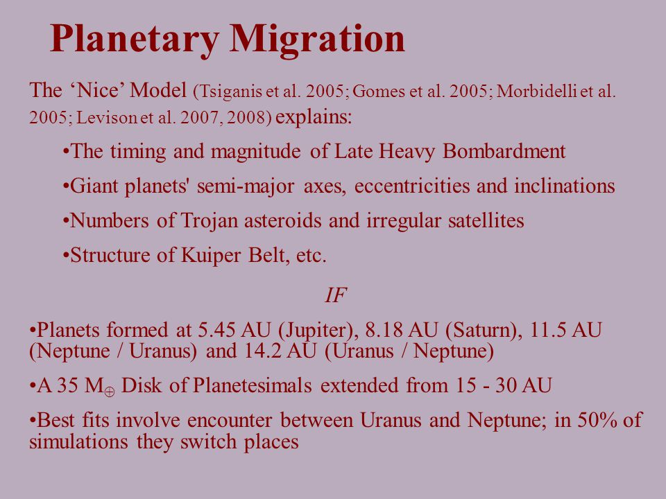 The 'Nice' Model (Tsiganis et al. 2005; Gomes et al.